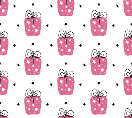 Birthday gift boxes flat vector seamless pattern in scandinavian style. Pink presents and gifts festive wrapping paper. Celebration greeting card backdrop. Textile, wallpaper, wrapping paper.