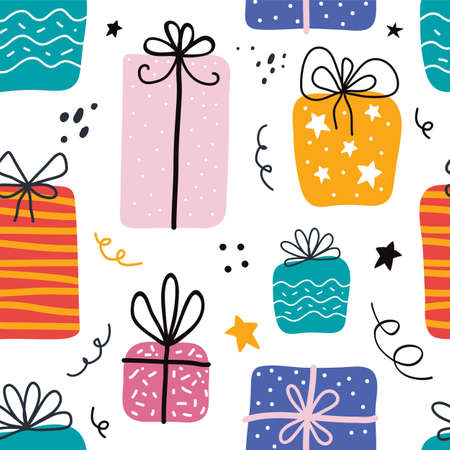 Birthday gift boxes flat vector seamless pattern in scandinavian style. Presents and gifts festive wrapping paper. Celebration, greeting card backdrop. Textile, wallpaper, wrapping paper design idea.