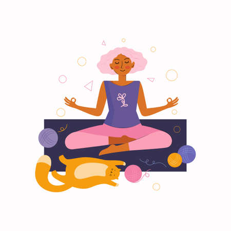 Young woman and a funny red cat spend time together at home doing yoga. Spending time at home. Time at home with your favorite pet. Woman sits in the Lotus position and meditates. Vector illustration.