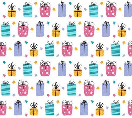 Birthday gift boxes flat vector seamless pattern in scandinavian style. Presents and gifts festive wrapping paper. Celebration, greeting card backdrop. Textile, wallpaper, wrapping paper design idea