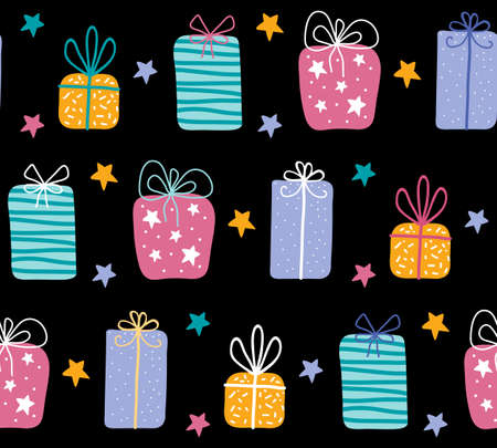 Birthday gift boxes flat vector seamless pattern in scandinavian style. Presents and gifts festive wrapping paper on black background. Celebration, greeting card backdrop. Ilustração