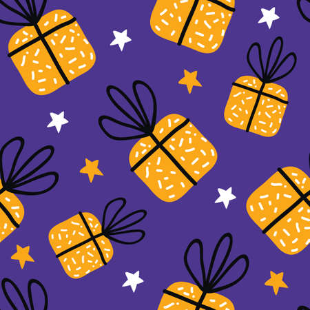 Birthday gift boxes flat vector seamless pattern in scandinavian style. Yellow presents and gifts festive wrapping paper on a purple background. Celebration greeting card backdrop. Иллюстрация