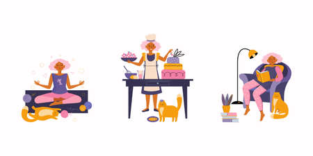Woman enjoying their free time, performing leisure activities and doing hobbies - cooking, meditating, reading book, spends time with a pet. Funny red cat with its owner. Spending time at home. Illustration