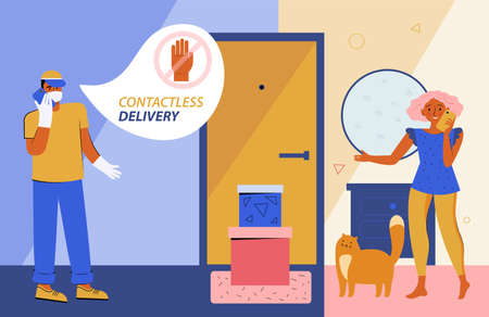 Safe contactless delivery to home. Courier in a protective medical mask and gloves delivers a box with an order to the door of an apartment, house. Safe distance. Online purchases during a quarantine.
