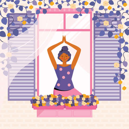 Young woman practices meditation and yoga at home. The person in the window is engaged in sports. Spending time at home. Leisure in quarantine. Facade of the house with a window and flowers In vector