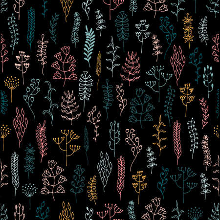 Meadow and forest grass hand drawn seamless pattern. Natural summer background of herbs, flowers, leaves, stems. Clearing with different plants. Botanical floral graphic design. Vector illustration.