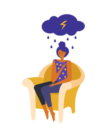 Woman in depression and stress is sitting in a chair at home. Sad character with a cloud, rain and lightning over his head. Unhappy girl with mental illness and life problems. Psychological disorder