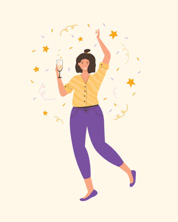 Carefree woman dancing and drinking wine. Relaxed young lady having fun at indoor party. Party, drinks, holidays and celebration concept. Spend time at home in quarantine. Vector flat illustration.