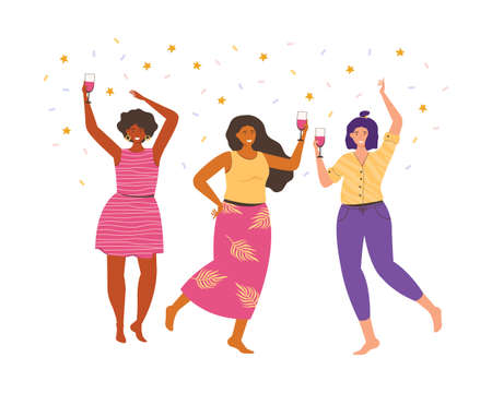 Female friendship. Women friends spend time together at a party. People dance, have fun, laugh, drink wine. Women of different nationalities. Concept illustration of a holiday, new year, birthday.