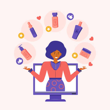 Beauty blogger advertises natural herbal cosmetics over the Internet. Online video blog broadcast. Woman talks about cosmetics and skin care using social networks. Feedback. Vector flat illustration. Çizim