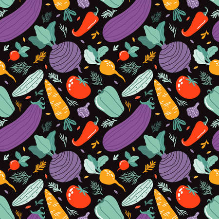 Hand drawn colorful doodle vegetables in organic style seamless pattern. Backdrop from cucumber, carrot, tomato, beetroot, pepper, eggplant. Vegetarian healthy food. Farm products. Cartoon flat vector