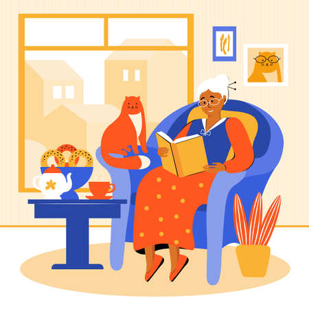 An elderly woman stays at home during the quarantine. Grandmother is sitting in a chair by the window, reading a book. Pensioner drinks tea with homemade cakes. Old woman spends time with her pet Ilustración de vector