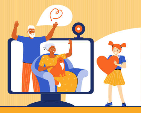Girl communicates with her grandparents via a video call. An elderly couple talks with their granddaughter via the Internet. Technology and communication between relatives. Vector flat illustration