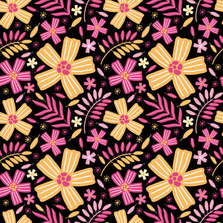 Seamless pattern of bright yellow and pink exotic flowers and leaves.