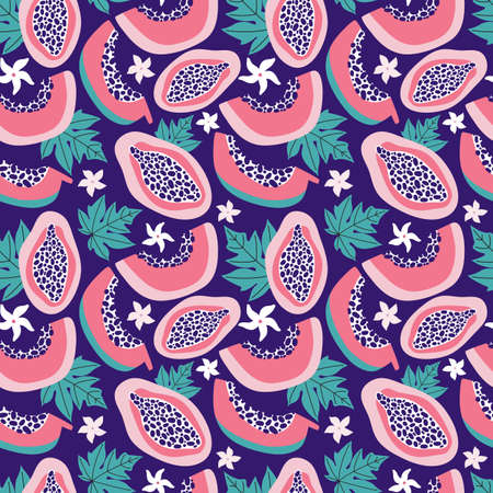 Exotic summer seamless pattern of pink papaya on a dark blue background. Tropical sweet fruit cut into slices, flowers, leaves, pulp, seeds. Hand drawn vector background colorful doodle tropic fruits