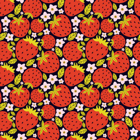 Hand drawn seamless pattern with berries and strawberry flowers with leaves on a black background. Summer background fresh sweet berries. Vector illustration for ads, menu and web banner designs Illusztráció