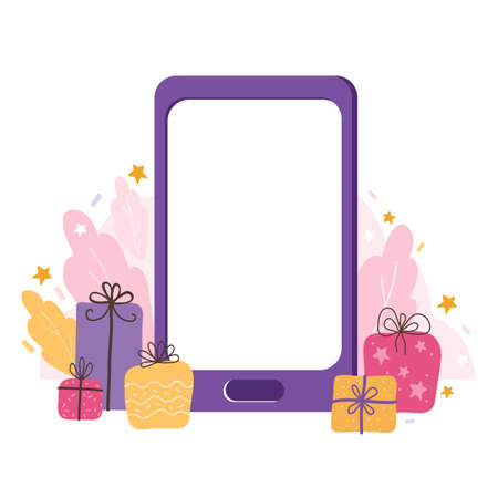 Smartphone template with an empty screen on a holiday background.Mobile phone mock up with gifts, stars, and streamers. Vector flat illustration of touch screen with blank interface. Holiday online