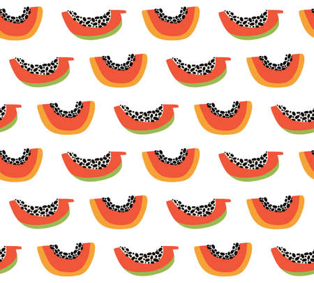 Orange papaya seamless pattern. Exotic summer background. Tropical sweet fruit slices with pulp and seeds. Hand drawn vector colorful doodle jungle fruits on white background. Vegetarian healthy food.
