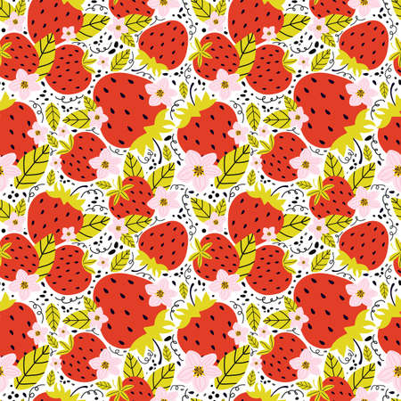 Hand drawn seamless pattern with berries and strawberry flowers with leaves on a white background. Summer background sweet berries. Creative scandinavian kids texture for fabric, wrapping, textile Illusztráció