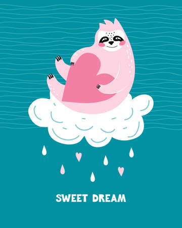 Pink sloth with a heart sits on a white cloud. Hand drawn greeting card or banner with lettering phrase sweet dream. Cartoon bear character. Raindrops on a blue background. Vector flat illustration