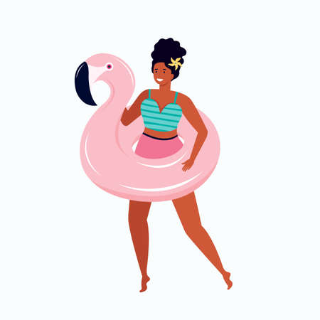 Happy woman in a swimsuit with an inflatable pink Flamingo float. Hand drawn cartoon female character actively spends time in the summer. Pin up girl with a toy for swimming in the pool or sea. Illusztráció
