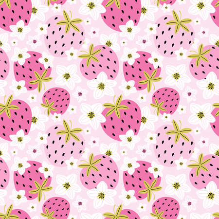 Hand drawn berries and strawberry flowers on a pink background. Summer romantic background of sweet berries and plant elements. Abstract colorful berry illustration. Design for card, print, wallpaper Illusztráció