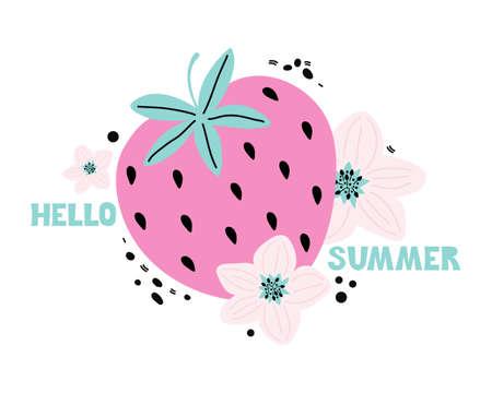 Hand drawn cartoon pink strawberry with lettering Hello summer. Summer fresh sweet berries and pink flowers. Vector illustration in Scandinavian style. Handwritten text. Modern poster, sticker, banner Banco de Imagens - 150090714