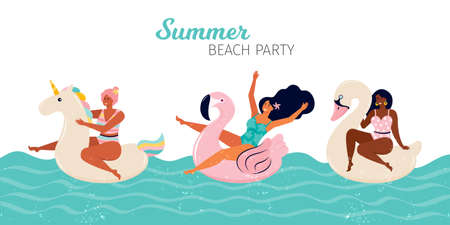 Happy women at a summer beach party. People swim in the pool or in the sea on the inflatable floats, flamingos, Swan, unicorn. Pool Party summer horizontal banner. Hand drawn flat vector illustration