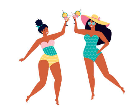 Female friends have fun spend time on summer vacation. Happy women in swimsuits drink a fruit cocktail. Beach party. Female friendship. Summer holidays by the sea. Hand drawn flat illustration
