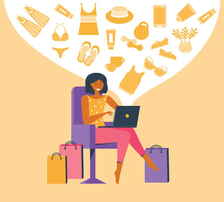 Woman shopping online on laptop. Customer selects the goods to online order. Shopper use internet device buy product e-commerce. Girl chooses a product in an e-shop. Vector flat illustration