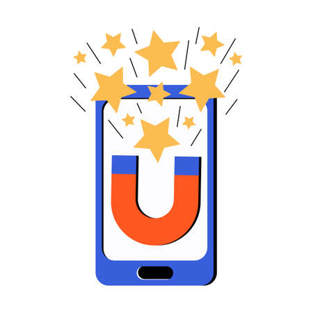 Customer engagement and feedback online. Lead magnets in the online app on your smartphone collects likes. Online promotion in social networks. Product or service evaluation. Vector flat illustration