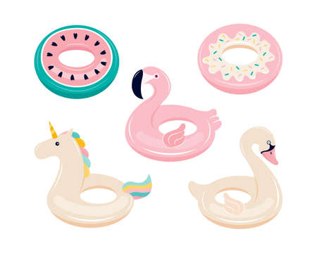 Set of inflatable floats for swimming in the shape of a Flamingo, unicorn, Swan, watermelon, donut. Water and beach colorful rubber toys isolated on a white background. Hand drawn vector illustration