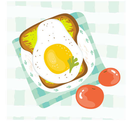 Healthy Breakfast in the morning served with fried egg, avocado, tomato, sandwich. Good morning food menu in summer. Balanced diet. Delicious food. Hand drawn  illustration cartoon style