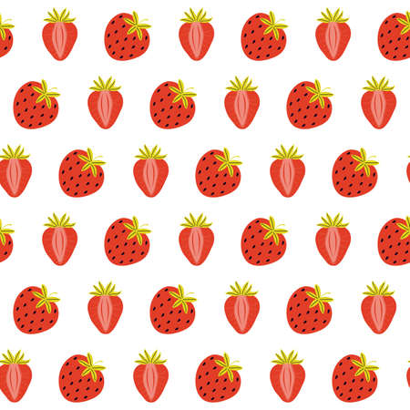 Seamless pattern of juicy red strawberries on a white background. Whole and half sweet berries. Summer colorful background. Hand drawn in Scandinavian style. Texture design for kids textiles