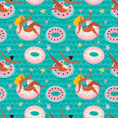 Seamless pattern sweet pink donut and watermelon inflatable swimming pool floats. Hand drawn funny women swim in the sea on an inflatable rubber circle.