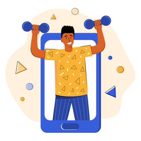 Online sports training. Trainer conducts strength training using a mobile app on smartphone. Fitness exercise with dumbbells. Gym online. Fitness conducts a video broadcast. Sports video blog Illusztráció