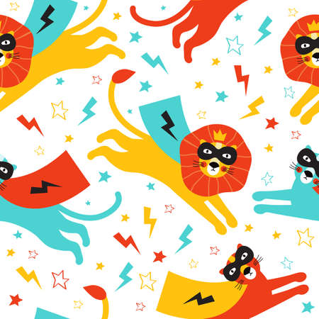 Lion and Panther super hero pattern. Hand drawn background with wild cats heroes in cloaks and black masks among stars and lightning. Texture design for children with cute animals.