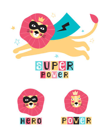 Lion super hero in a black mask and cape. Leo face in a crown. Hand drawn vector illustration with lettering phrase super power, hero. Funny cartoon character animal. Set of elements for kids design