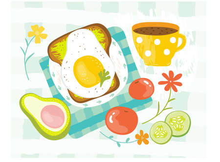 Healthy Breakfast in the morning served with eggs, avocado, tomato, cucumber, sandwich, coffee. Good morning food menu in summer. Balanced diet. Delicious food. Hand drawn vector illustration.