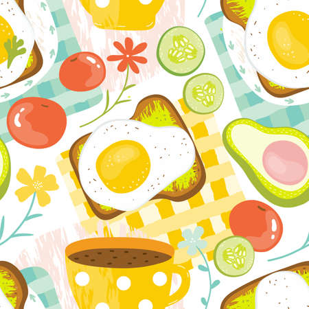 Seamless pattern healthy Breakfast in the morning - eggs, avocado, tomato, cucumber, sandwich, coffee. Good morning food in summer. Balanced diet. Hand drawn vector background delicious food