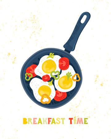 Fried eggs in a frying pan with vegetables, tomatoes, peppers. Healthy brunch with fresh homemade meal. Traditional food International cuisine. Hand drawn poster or card with lettering Breakfast time