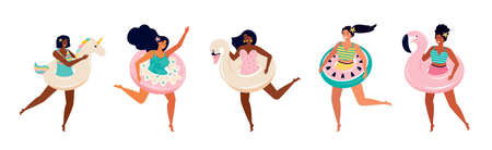 Happy women in swimsuits with an inflatable float donut, Swan, watermelon, unicorn, pink Flamingo. Girlfriends at a summer beach party on the sea. Toys for swimming in the pool. Female friendship