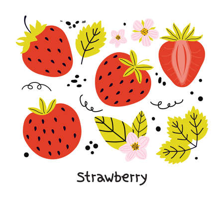 Hand drawn set of red strawberries with leaves and flowers isolated on a white background. Elements of juicy summer berries for the design of stickers, menu posters. Illusztráció