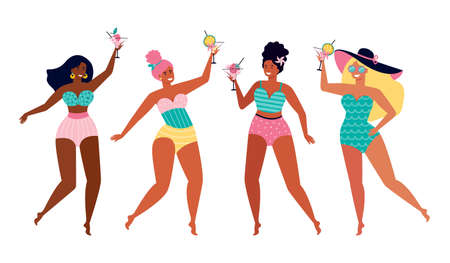 Female friends at a summer beach party. Funny girls in swimsuits drink a fruit cocktail. Summer holidays by the sea. Women of different nationalities and cultures. Hand drawn vector illustration. Illusztráció
