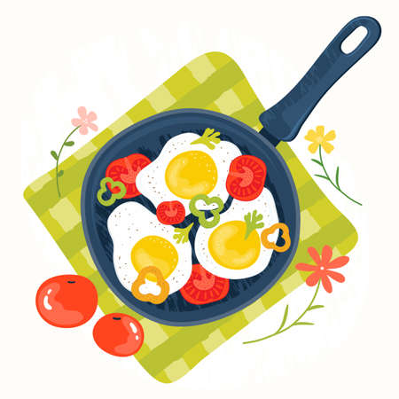 Fried eggs in a frying pan with vegetables, tomatoes, peppers. Healthy brunch on a table. Fresh homemade meal. Traditional breakfast food. International cuisine food. Top view. Vector illustration Illustration