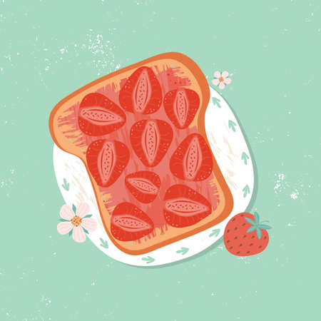 Toast for Breakfast with sweet strawberry jam, top view. Fruit and berry jam spread on a piece of bread. Rustic summer Breakfast or lunch. Fresh healthy foods. Hand drawn vector illustration. Illusztráció