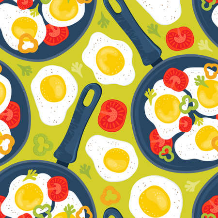 Seamless pattern fried eggs in a frying pan with vegetables, tomatoes, peppers. Healthy brunch on a table. Hand drawn background fresh homemade meal. Traditional breakfast food. International cuisine Illustration