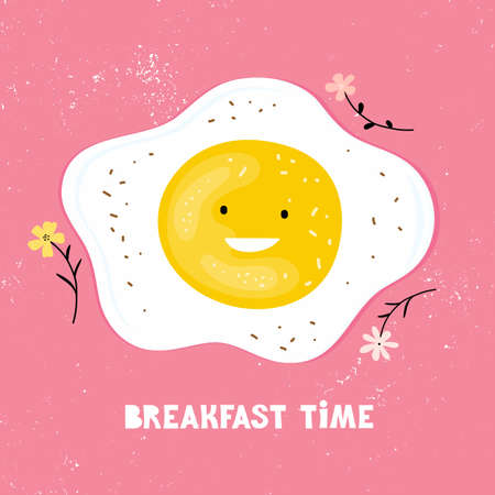 Cartoon character funny fried eggs with handwritten phrase Breakfast time. Poster for children. Friendly egg on a pink background. Healthy Breakfast for children. Hand drawn vector years illustration Illustration