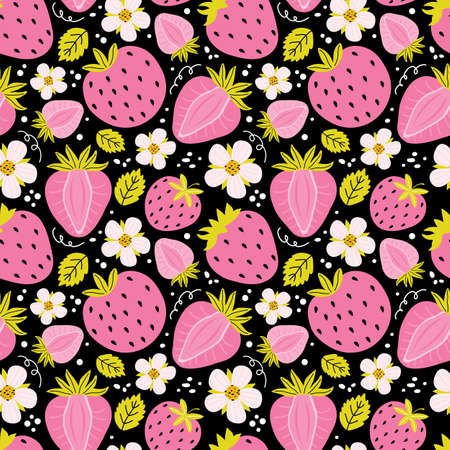 Hand drawn seamless pattern with strawberry, flowers, leaves on a black background. Summer background sweet berries. Creative scandinavian kids texture for fabric, wrapping, textile