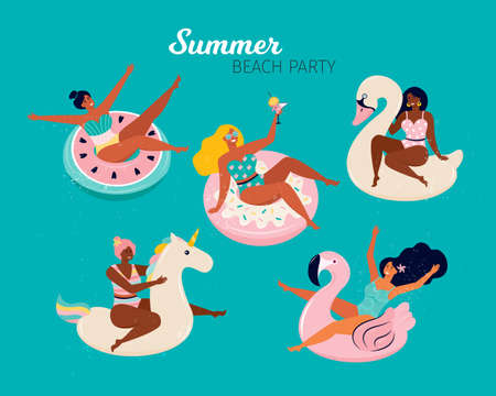 Happy women at a summer beach party. People swim in the pool or in the sea on the inflatable floats, flamingos, Swan, donut, unicorn and a watermelon. Pool Party doodle set. Hand drawn illustration Illusztráció